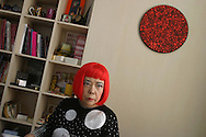 Japanese artist Yoyoi Kusama in her studio, prior to attending the 2006 Praemium Imperiale art awards, in the Meiji-Jingu Kinenkan hall, Tokyo, Japan, on Wednesday, Oct. 18,  2006. The five laureates in 2006 were internationally renowned  Japanese artist Kusama Yayoi, French sculptor Christian Boltanski, German architect Frei Otto, American musician Steve Reich, and Russian dancer ballerina Maya Plisetskaya. All receive an honorarium of 15 million Yen, and a medal. The Japan Art Association, giver of the awards, is the oldest cultural foundation in Japan, established in 1887. The laureates are chosen each year by an international jury, from a list of nominees put forward by advisors. The awards are held annually in Tokyo in the presence of Prince and Princess Hitachi.