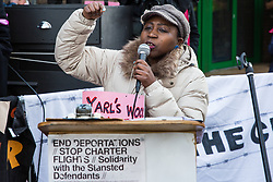 Chelmsford, UK. 6th February, 2019. Flora from the All African Women's Group addresses activists from around the UK gathered to show solidarity with the Stansted 15 before their sentencing at Chelmsford Crown Court. The Stansted 15 were convicted on 10th December of an anti-terrorism offence under the Aviation and Maritime Security Act 1990 following non-violent direct action to try to prevent a Home Office deportation flight carrying precarious migrants to Nigeria, Ghana and Sierra Leone from taking off from Stansted airport in March 2017.