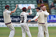 Wicket - Jack Leach of Somerset celebrates taking the wicket of Sam Cook of Essex during the Specsavers County Champ Div 1 match between Somerset County Cricket Club and Essex County Cricket Club at the Cooper Associates County Ground, Taunton, United Kingdom on 26 September 2019.