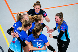 Team Zwolle with Bjorn Gras of Zwolle celebrate in action during the first league match between Djopzz Regio Zwolle Volleybal - Laudame Financials VCN on February 27, 2021 in Zwolle.
