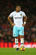 Dimitri Payet of West Ham United gets ready to take a free kick. Premier League match, Liverpool v West Ham Utd at the Anfield stadium in Liverpool, Merseyside on Sunday 11th December 2016.<br /> pic by Chris Stading, Andrew Orchard sports photography.