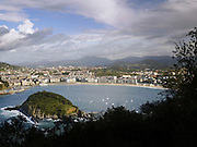 A cityscape view of San Sebastian, over the La Concha bay, in northern Spain