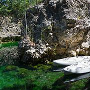 Kayak tour of the mangroves and waterways around  Mayakoba. Riviera Maya. Quintana Roo, Mexico.