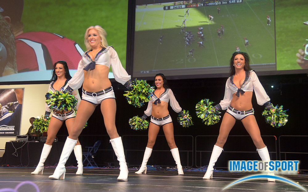 Nov 23, 2014; Seattle, WA, USA; Seattle Seahawks sea gals cheerleaders perform before the game against the Arizona Cardinals at CenturyLink Field.