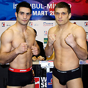 Istanbulls Onur SIPAL (L) and Milano Thunder Sergiy DEREVYANCHENKO (R) boxers seen during their Presentation and the weighing ceremony matchday 5 of the World Series of Boxing at Ayhan Sahenk Arena in Istanbul, Turkey, Thursday, March 10, 2011. Photo by TURKPIX