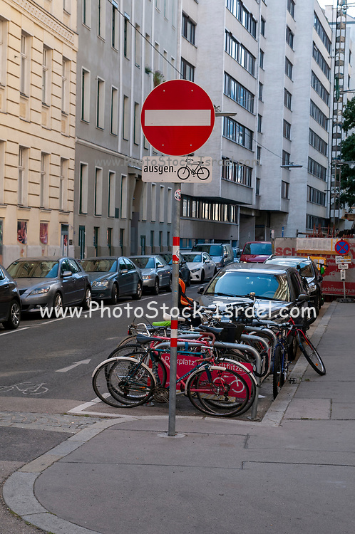 A sign allowing cyclist to ride in the wrong direction in a one way street. Vienna, Austria