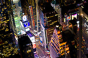 Aerial photograph of Times Square in Manhattan. Taken at night from a helicopter by photographer Evan Joseph.