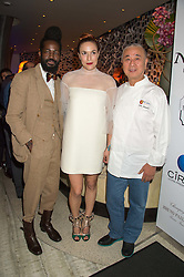Left to right, ROY LUWOLT,  MARY ALICE MALONE and NOBU MATSUHISA at a party to celebrate the 10th anniversary of Nobu Berkeley Street held on 5th November 2015.