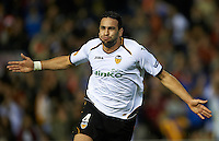 VALENCIA, SPAIN - APRIL 05:  Adil Rami of Valencia CF celebrates after scoring during the UEFA Europa League quarter final second leg match between Valencia CF and AZ Alkmaar at Estadio Mestalla on April 5, 2012 in Valencia, Spain.  (Photo by Manuel Queimadelos Alonso/Getty Images)