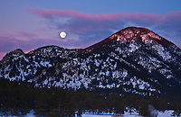 Sunrise and moon set over Castle Mountain.  Rocky Mountain National Park, Colorado.