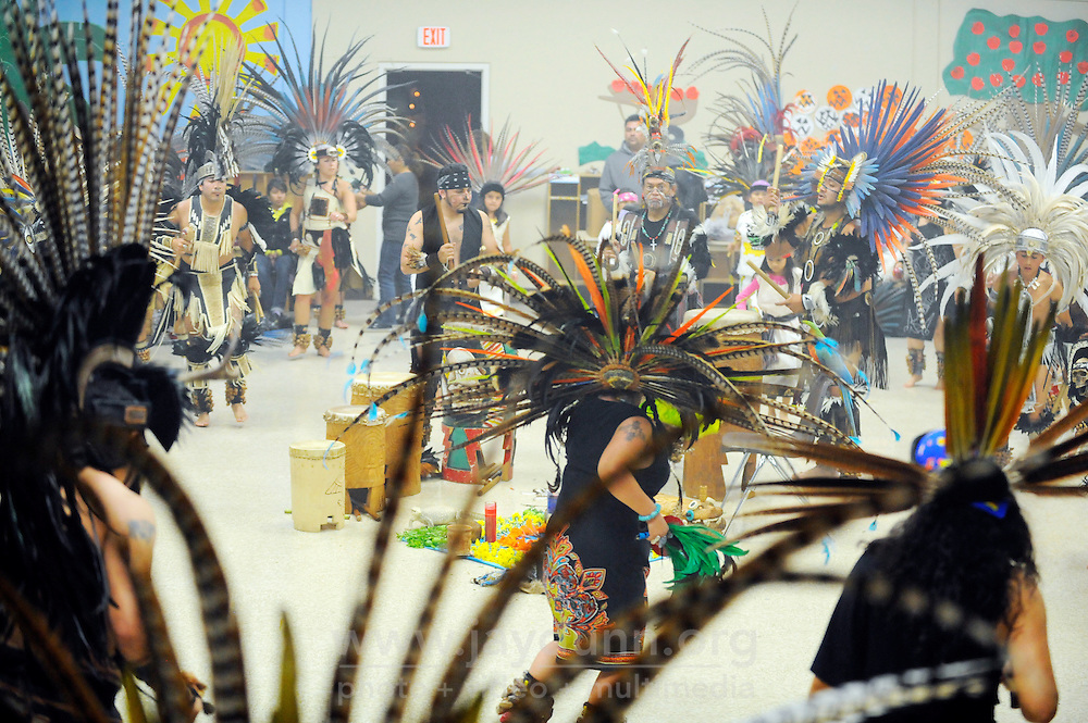 """Dancers from Yaocuauhtli and other groups perform at the sixth annual gathering called """"Day of Indigenous Resistance."""" Held as a deliberate counterpoint to Columbus Day, which is also sometimes called """"Day of the Races,"""" or """"Hispanic Day,"""" the event on October 11th, 2012 in Salinas was meant to highlight long-standing New World traditions, saying """"We are Aztecas, Zapotecas, Mexicas, Toltecas, Huicholes, Trikis, Mayas, Incas, Tarahumara, etc,"""" and encouraging everyone to express pride in their pre-Colombian identities."""