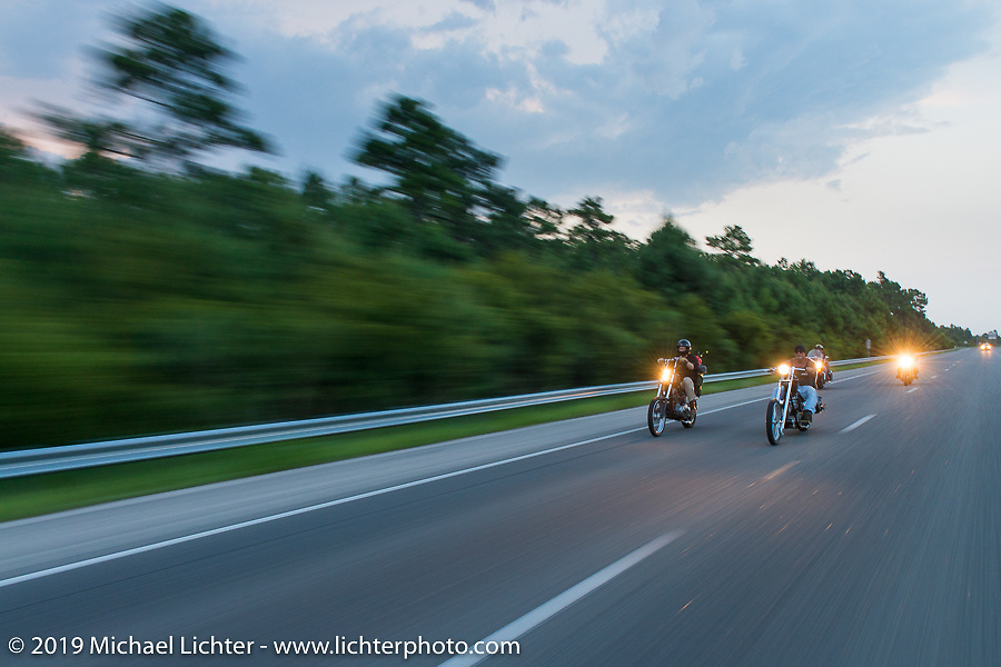 """The Horse Magazine publisher Ralph """"Hammer"""" Janus and friends on ride from Camp Lejeune Marine base in NC to Suck, Bang, Blow in Murrells Inlet in SC on the way to the Smokeout 2015. USA. June 17, 2015.  Photography ©2015 Michael Lichter."""