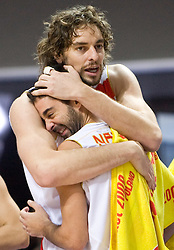 Pau Gasol of Spain and Juan Carlos Navarro of Spain celebrate when Team of Spain became the European Champion 2009 at the EuroBasket 2009 after they won at Final match between Spain and Serbia, on September 20, 2009, in Arena Spodek, Katowice, Poland.  Spain won, Serbia placed second, Greece third and Slovenia fourth. (Photo by Vid Ponikvar / Sportida)