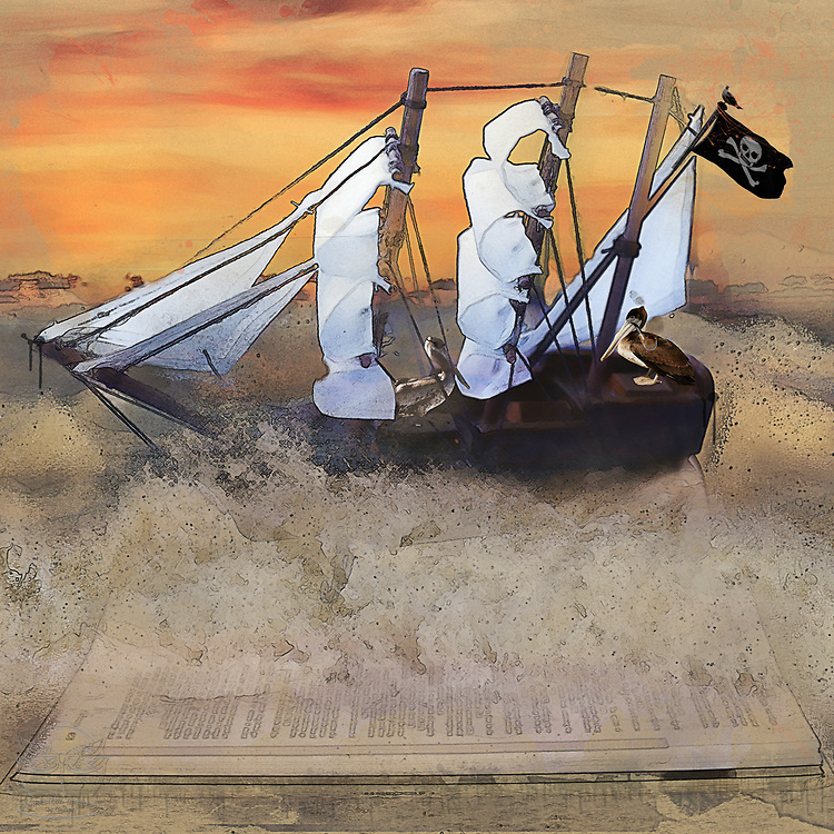 Pettie the Pirate Pelican pilots his plundered pirate ship.