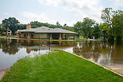 Excessive rains create flood conditions in Madison, Wisconsin, USA. View of Tenney Park underwater.