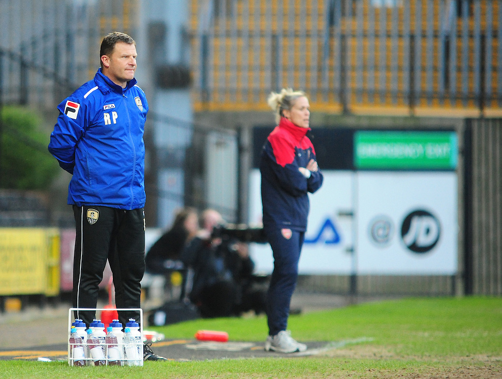 Notts County Ladies' Manager Rick Passmoor <br /> <br /> Photo by Chris Vaughan/CameraSport<br /> <br /> Women's Football - FA Women's Super League 1 - Notts County Ladies v Arsenal Ladies - Wednesday 16th April 2014 - Meadow Lane - Nottingham<br /> <br /> © CameraSport - 43 Linden Ave. Countesthorpe. Leicester. England. LE8 5PG - Tel: +44 (0) 116 277 4147 - admin@camerasport.com - www.camerasport.com