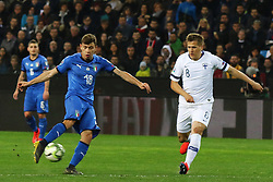 "March 23, 2019 - Udine, Italia - Foto LaPresse/Andrea Bressanutti.23/03/2019 Udine (Italia).Sport Calcio.Italia vs. Finlandia - European Qualifiers - Stadio ""Dacia Arena"".Nella foto: barella gol 1-0..Photo LaPresse/Andrea Bressanutti.March  23, 2019 Udine (Italy).Sport Soccer.Italy vs Finland - European Qualifiers  - ""Dacia Arena"" Stadium .In the pic: barella scoaring goal 1-0 (Credit Image: © Andrea Bressanutti/Lapresse via ZUMA Press)"