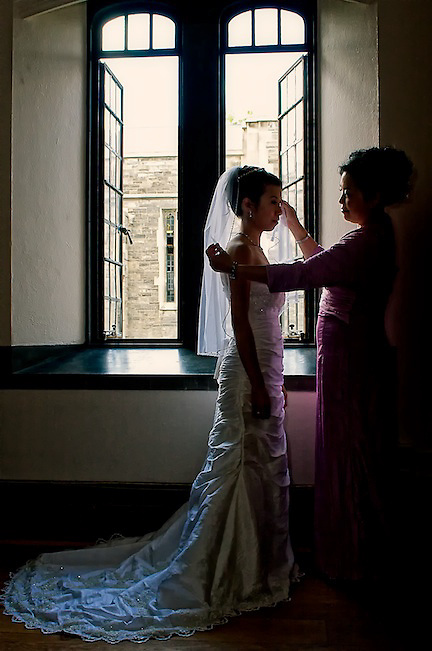 A few final touches before the bride becomes a wife.