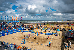 Centercourt during the bronze medal match men. The Final Day of the DELA NK Beach volleyball for men and women will be played in The Hague Beach Stadium on the beach of Scheveningen on 23 July 2020 in Zaandam.
