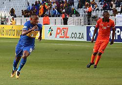Cape Town City midfielder Ayanda Patosi in action against Polokwane City in an MTN8 quarter-final match at the Cape Town Stadium on August 12, 2017 in Cape Town, South Africa.