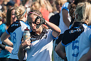 Clifton Captain Liz Sinton gives the thumbs down after their defeat to Reading at the Investec Women's Hockey League Finals Weekend, Sonning Lane, Reading, UK on 13 April 2014. Photo: Simon Parker