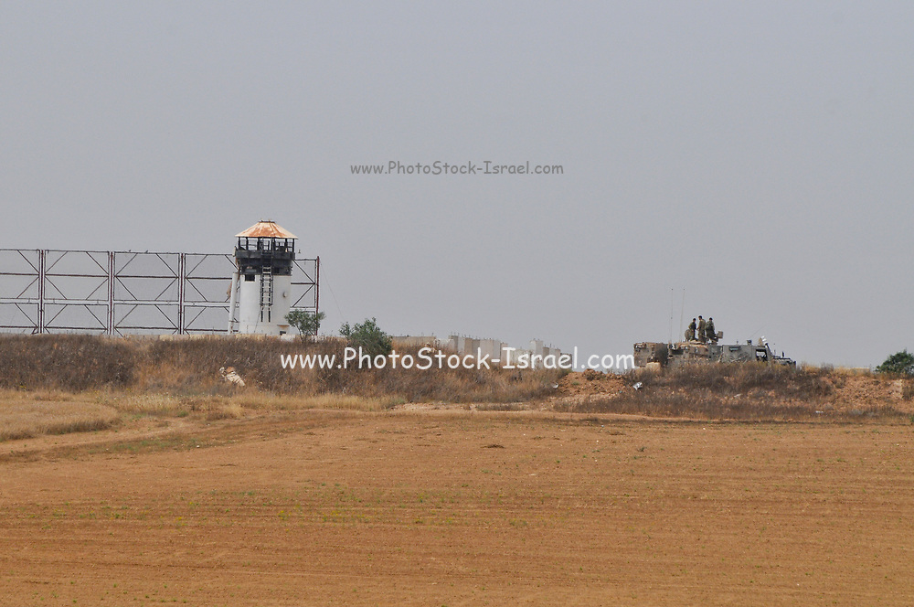 Israeli soldiers on patrol near the border fence between Israel and Palestine, the Gaza Strip