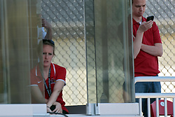 26 April 2014:   Press and scoring box people during an NCAA Division 1 Missouri Valley Conference (MVC) Baseball game between the Southern Illinois Salukis and the Illinois State Redbirds in Duffy Bass Field, Normal IL