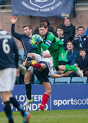 Dundee's Pater MacDonald and Falkirk's keeper Michael McGovern.<br /> Dundee 0 v 1 Falkirk, Scottish Championship game played today at Dundee's Dens Park.<br /> © Michael Schofield.