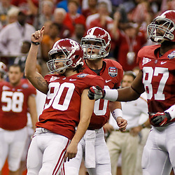 Jan 9, 2012; New Orleans, LA, USA; Alabama Crimson Tide kicker Jeremy Shelley (90) against the LSU Tigers during the second half of the 2012 BCS National Championship game at the Mercedes-Benz Superdome.  Mandatory Credit: Derick E. Hingle-US PRESSWIRE