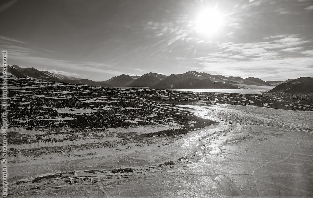 Approaching Explorers Cove where Taylor Valley meets McMurdo Sound.