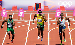 DASAOLU James GBR, BOLT Usain JAM and EGWERO Ogho-Oghene NGR  during 100m sprint during  London 2012 Summer Olympic Games, on August 10, 2012 in London, Great Britain. Photo by Ronald Hoogendoorn / Sportida.com.