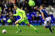 Dale Stephens of Brighton & Hove Albion (L) in action with Maikel Kieftenbeld of Birmingham City chasing.<br /> Sky Bet Football League Championship match, Birmingham City v Brighton & Hove Albion at St.Andrew's Stadium in Birmingham, the Midlands on Tuesday 5th April 2016.<br /> Pic by Ian Smith, Andrew Orchard Sports Photography.
