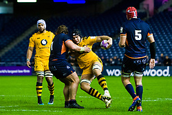 A wasps player is tackled by Hamish Watson of Edinburgh  - Mandatory by-line: Ewan Bootman/JMP - 06/12/2019 - RUGBY - Murrayfield - Edinburgh, England - Edinburgh Rugby v Wasps - European Rugby Challenge Cup