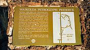 Interpretive sign at the Kings Trail and petroglyphs at Waikoloa, Kohala Coast, The Big Island, Hawaii USA