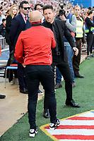 Atletico de Madrid's coach Diego Pablo Simeone and Sevilla's coach Jorge Sampaoli during La Liga match between Atletico de Madrid and Sevilla CF at Vicente Calderon Stadium in Madrid, Spain. March 19, 2017. (ALTERPHOTOS/BorjaB.Hojas)