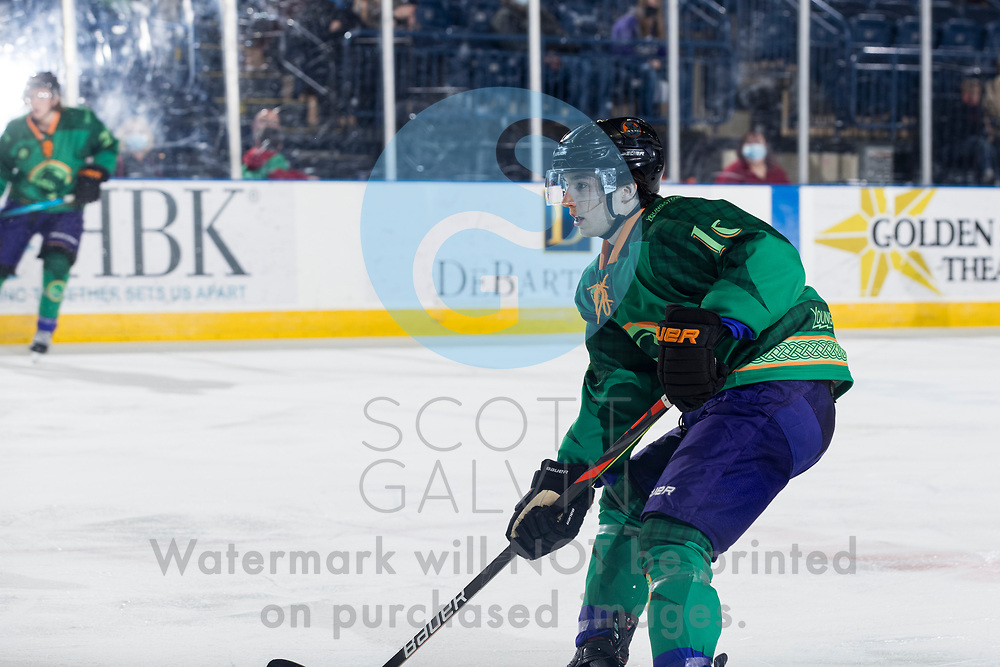 Youngstown Phantoms lose 5-4 to the Dubuque Fighting Saints at the Covelli Centre on March 13, 2021.<br /> <br /> Jack Larrigan, forward, 16