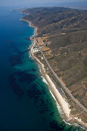 View of the Malibu Coast from the air looking northwest from Sequit Point towards Santa Barbara.