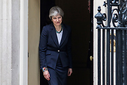 © Licensed to London News Pictures. 21/02/2018. London, UK. Prime Minister Theresa May leaves 10 Downing Street to greet Dutch Prime Minister Mark Rutte. Photo credit: Rob Pinney/LNP