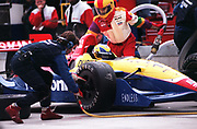 GASTON DE CARDENAS/EL NUEVO HERALD -- The Panosonic Team pit crew works on the Indy Car driven by Hiro Matsushita during the Grand Prix of Miami, at the Homestaed Motorsports Complex, Sunday March 3, 1996 in Homestead Florida.