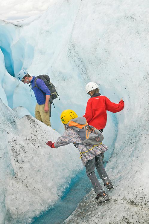 Palmer, Alaska. Trekking on Matanuska Glacier with James and Juliana Whitaker Aikins.  . MR