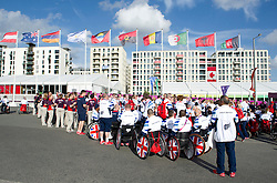 © Licensed to London News Pictures. 28/08/2012, Paralympic Athletes Village, Olympic Park, London. Team GB Paralympic athletes were welcomed into the athletes village today ahead of the Paralympic Games, which is due to start on the 29 Aug 12.   Photo credit : Alison Baskerville/LNP