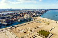 Nederland, Amsterdam, 20190220<br /> IJburg vanuit de lucht. Op het meest oostelijke punt van IJburg wordt een stuk grond klaargemaakt de nieuwe wijk Strandeiland. <br /> <br /> Foto (c) Michiel Wijnbergh