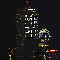 Boston Prudential Center is lit up with the message Mr 20! which puzzled the entire city of Boston and asking themselves: Who is Mr. 20? The message is in honor of Malcolm Rogers, a British-born, American curator and current art director of the Museum of Fine Arts in Boston. He is retiring after 20 years and I only can applaud the folks from The Pru, what a great gesture! <br />