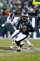 Philadelphia Eagles cornerback Asante Samuel #22 carries the ball after intercepting a pass during the NFL Game between the Indianapolis Colts and the Philadelphia Eagles. The Eagles won 26-24 at Lincoln Financial Field in Philadelphia, Pennsylvania on Sunday November 7th 2010. (Photo By Brian Garfinkel)