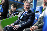 New Reading manager Nigel Adkins looks on in a relaxed mood before the match.  Barclays Premier league, Reading v Southampton at the Madejski stadium in Reading on Saturday 6th April 2013. pic by Andrew Orchard, Andrew Orchard sports photography,