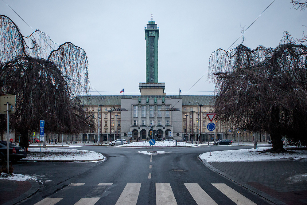 View to the city town hall in Ostrava.