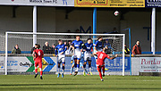 Matlock Town defends by heading the ball out of play from Ashton United Louis Walter's free kick during the Northern Premier League match between Matlock FC and Ashton United at the Proctor Cars Stadium on October 10th, 2020 in Matlock, Derbyshire. Local fans welcomed to watch the match maintaining Government's Covid-19 guidelines. (VXP Photo/ Shaun Hardwick)
