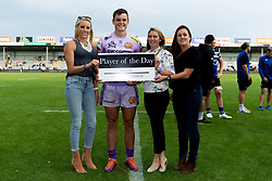 Tom Wyatt of Exeter Chiefs receives his player of the day from match sponsors after the final whistle of the match - Mandatory by-line: Ryan Hiscott/JMP - 21/09/2019 - RUGBY - Sandy Park - Exeter, England - Exeter Chiefs v Bath Rugby - Premiership Rugby Cup