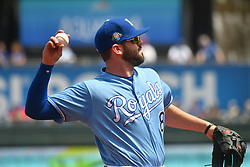 April 29, 2018 - Kansas City, Missouri, U.S. - KANSAS Kansas City, MO - APRIL 29:  Kansas City Royals designated hitter Mike Moustakas (8) throws to first for an out during a MLB game between the Chicago White Sox and the Kansas City Royals on April 29, 2018, at Kauffman Stadium, Kansas City, MO.  Kansas City won, 5-4. (Photo by Keith Gillett/Icon Sportswire) (Credit Image: © Keith Gillett/Icon SMI via ZUMA Press)