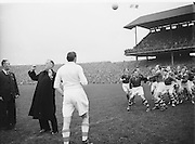 All Ireland Senior Football Final Replay. Meath v Cavan..Dr.Kyne throwing the ball..Winners - Cavan 0.9 - 0.5..12.10.1952  12th October 1952S. Morris, J. McCabe, P. Brady, D. Maguire, P. Carolan, L. Maguire, B. O'Reilly, V. Sherlock, T. Hardy, S. Hetherton, M. Higgins (Captain), E. Carolan, J. J. Cassidy, A. Tighe, J. Cusack. Note: P. Fitzsimons played in drawn game. J. Cusack came on for replay. P. Fitzsimmons was introduced as Sub for J. J. Cassidy in replay.